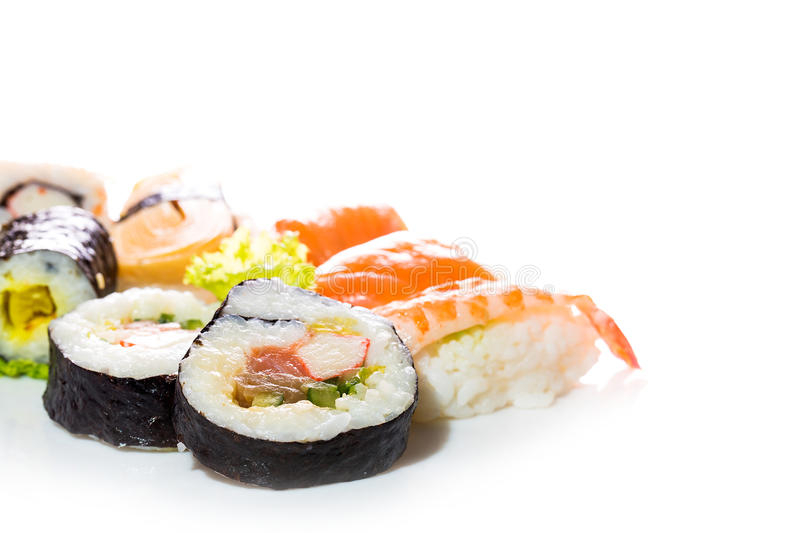 Sushi collection, isolated on white background. Asia cuisine royalty free stock photography