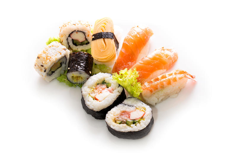 Sushi collection, isolated on white background. Cuisine royalty free stock photos