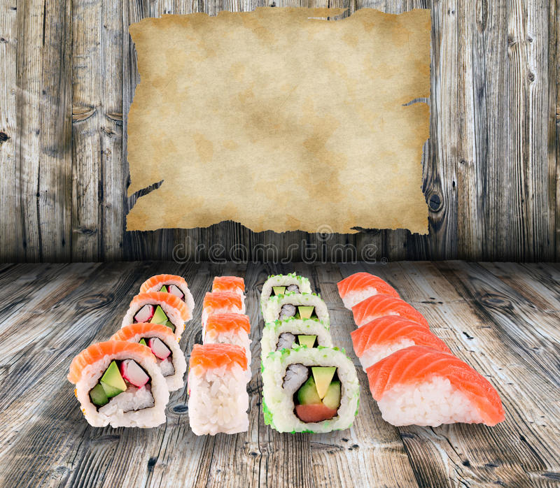 Sushi collection. Over wooden background stock photos