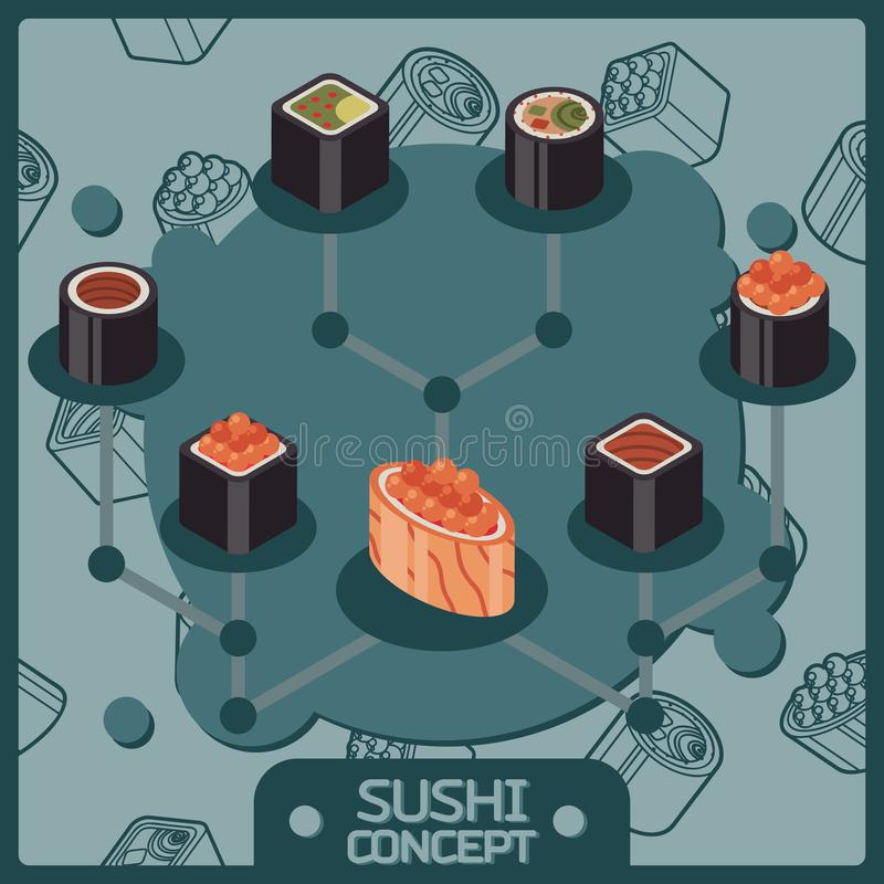 Sushi color isomeric concept icons. Vector illustration, EPS 10 stock illustration