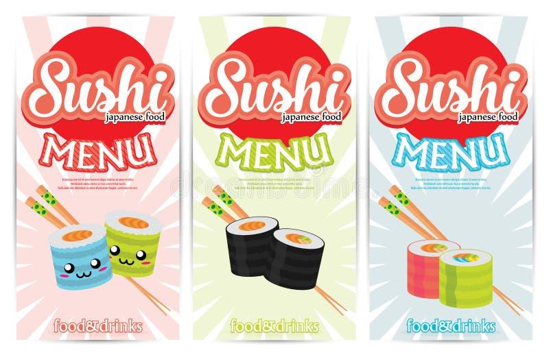 Sushi colorido de la plantilla de la bandera tres libre illustration