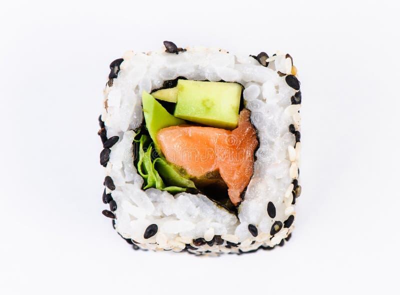 Sushi com opinião superior do abacate e do atum fotografia de stock