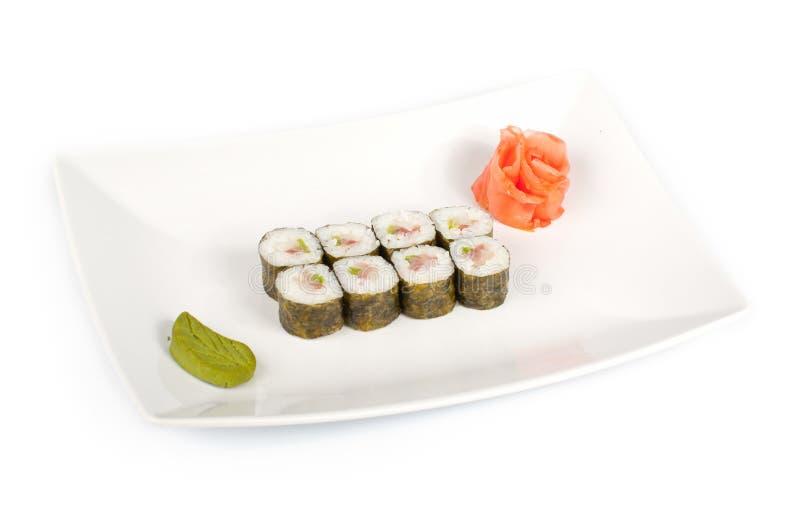Sushi com um baixo de mar em uma placa fotografia de stock royalty free