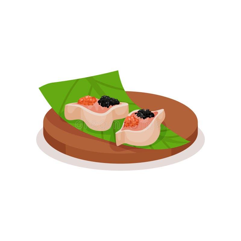 Sushi con el caviar rojo y negro en la hoja verde y la placa de madera Bocado asiático delicioso Tema del alimento Diseño plano d ilustración del vector