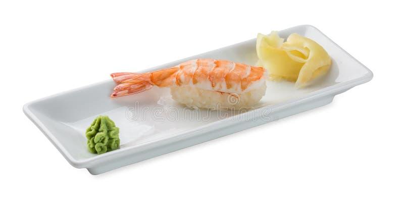 Sushi con gamberetto Isolato su bianco fotografie stock libere da diritti