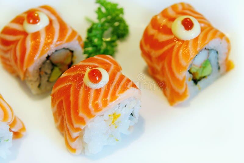 Sushi con i salmoni e l'aragosta immagini stock