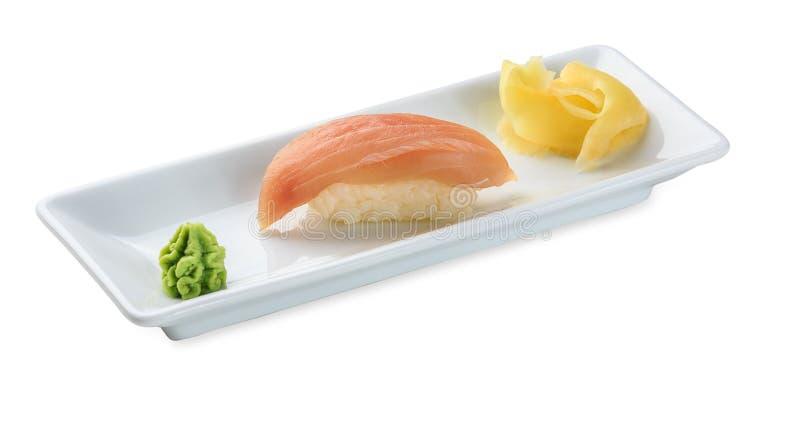 Sushi con l'aguglia isolata su bianco fotografie stock