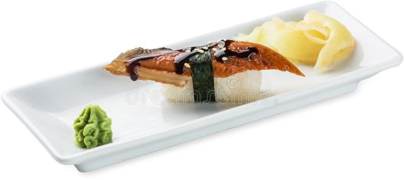 Sushi con l'anguilla isolata su bianco fotografia stock