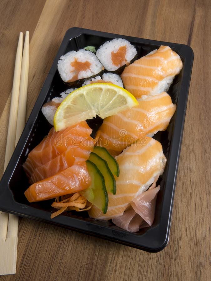 Sushi container sold in supermarket stock photos