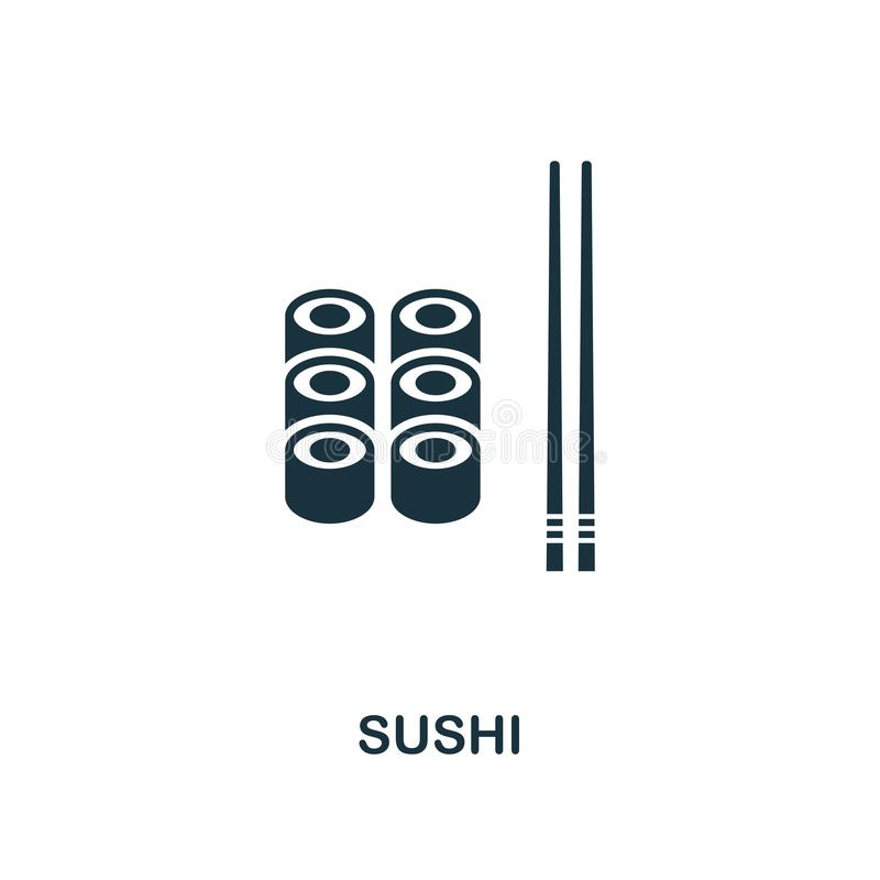 Sushi icon. Monochrome style icon design from meal icon collection. UI. Illustration of sushi icon. Pictogram isolated on white. R stock illustration