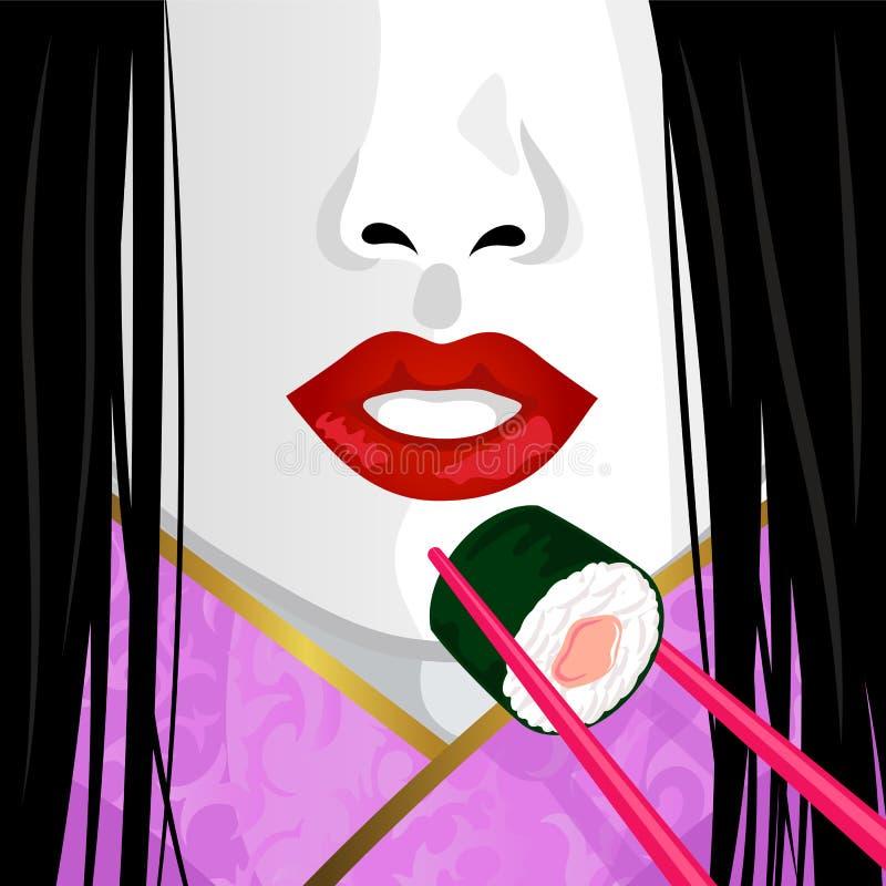Sushi d'eatig de geisha illustration de vecteur