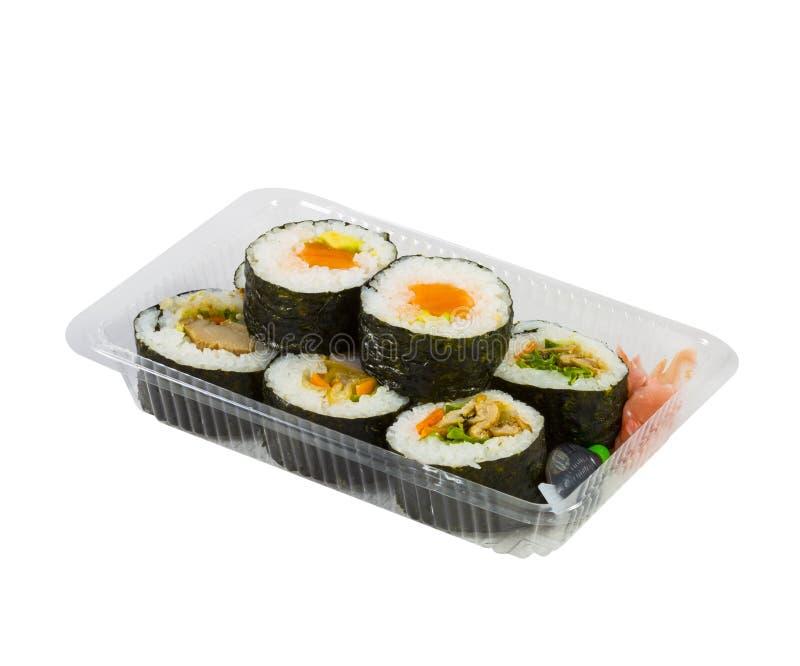 Sushi dans la boîte à emporter image libre de droits