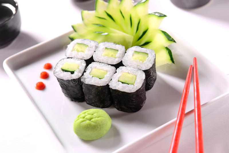 Sushi de concombre photographie stock libre de droits