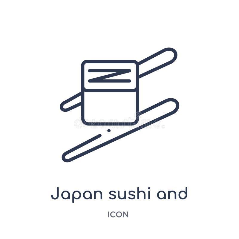 Sushi de Japón e icono lineares de los palillos de la colección del esquema de la comida Línea fina sushi de Japón e icono de los libre illustration