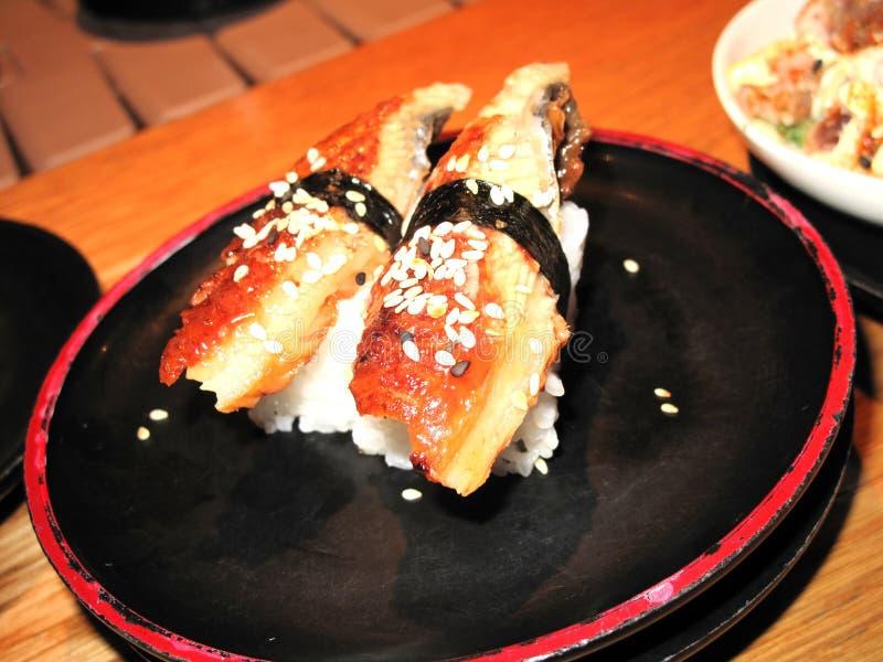 Sushi de la anguila imagen de archivo