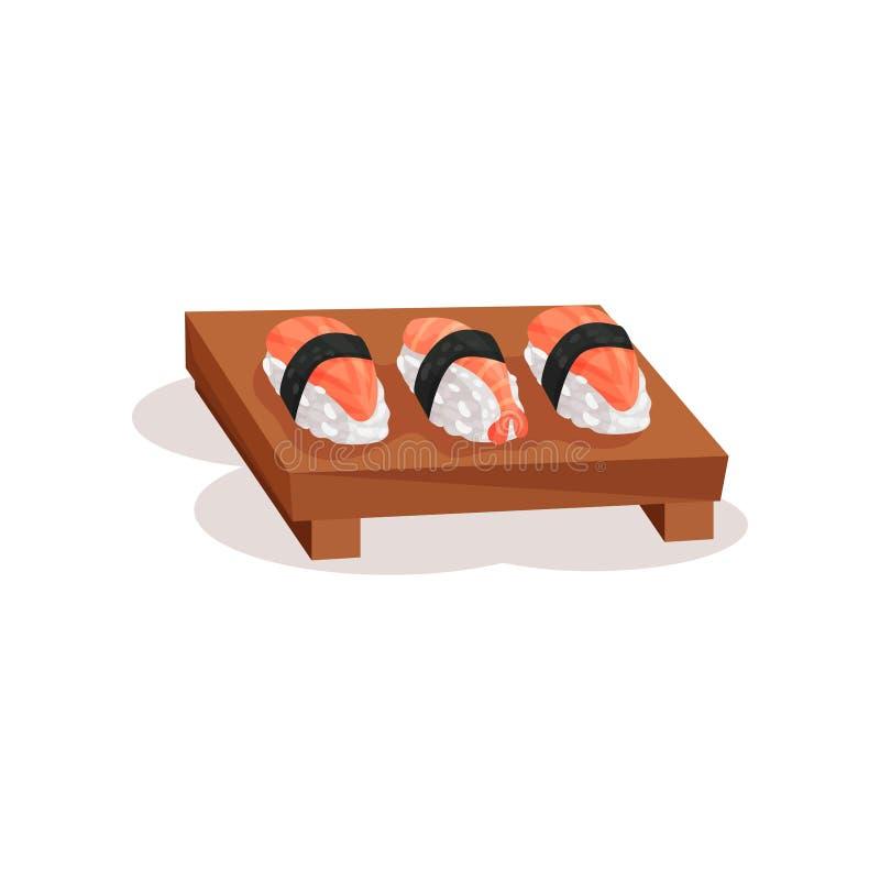 Sushi de Nigiri con el camarón y los salmones en la placa de madera Plato de la cocina japonesa Alimento asiático Icono plano del libre illustration