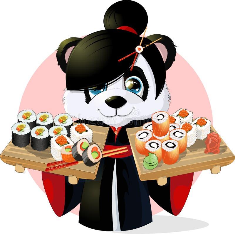 Sushi de panda illustration stock