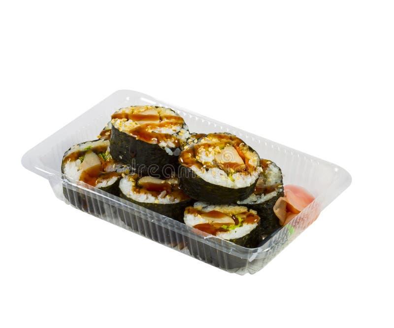 Sushi de poulet de Teriyaki dans la boîte à emporter photographie stock