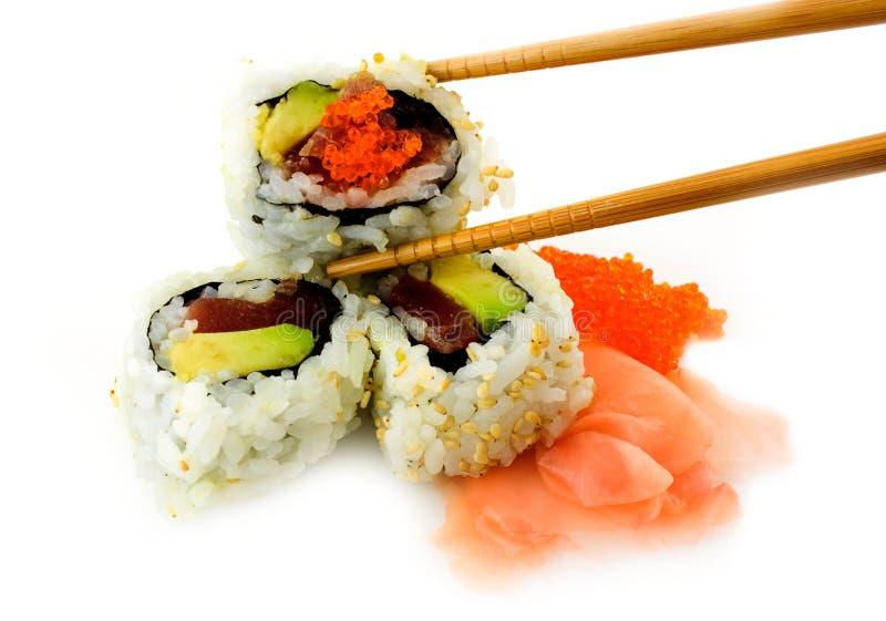 Sushi del aguacate y del atún fotos de archivo