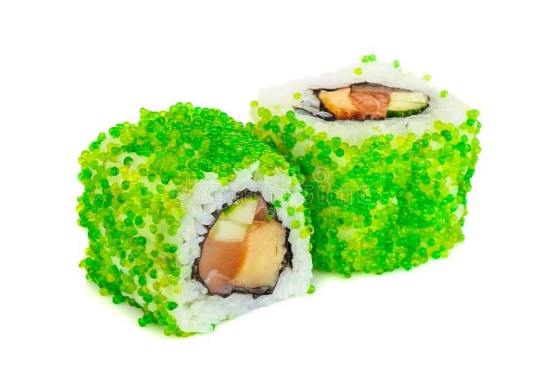 Sushi del maki de Uramaki, dos rollos en blanco fotografía de archivo libre de regalías