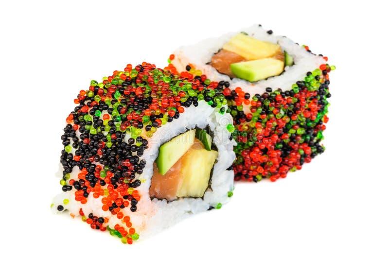 Sushi del maki de Uramaki, dos rollos en blanco fotos de archivo libres de regalías