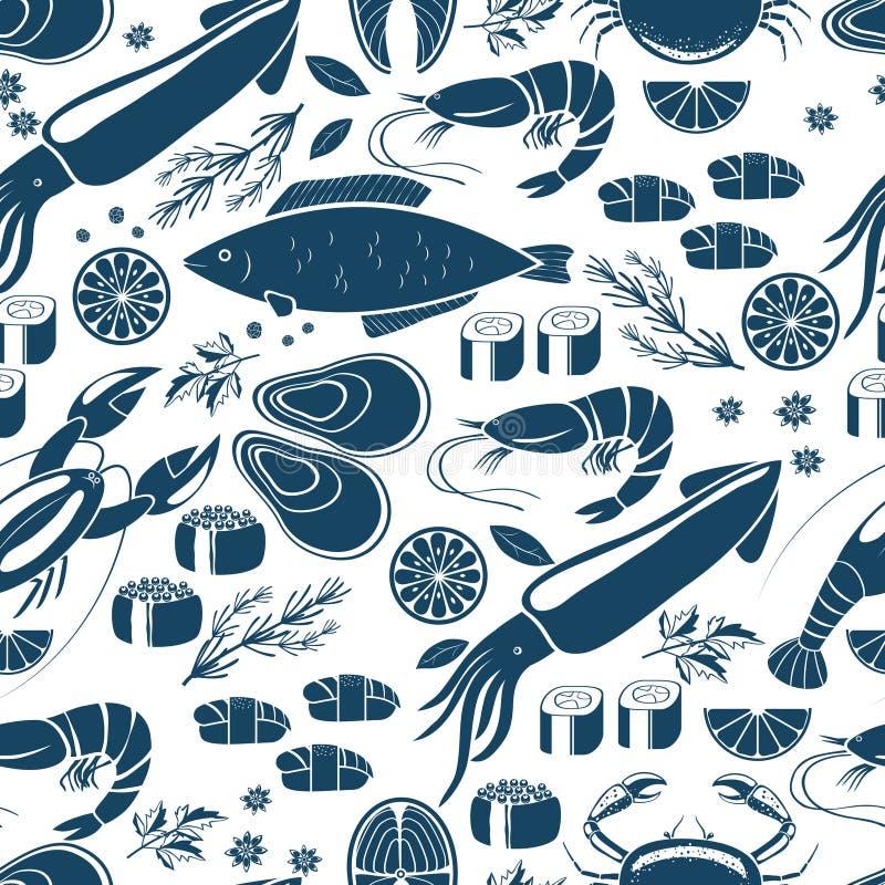Sushi del pesce e fondo senza cuciture dei frutti di mare illustrazione vettoriale