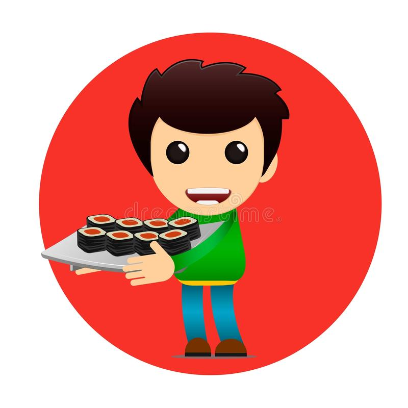 Sushi delivery poster. Bright cheerful character in a flat style stock illustration
