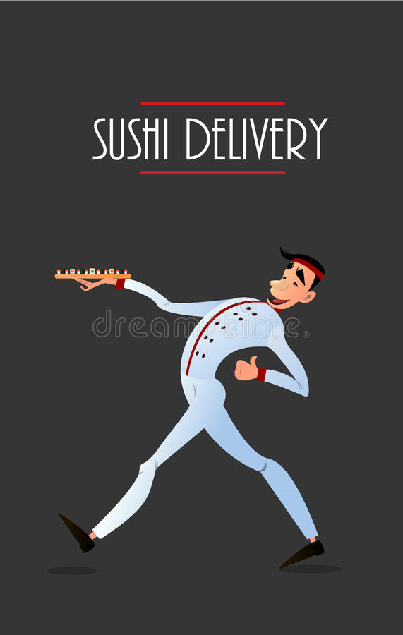 Sushi delivery vector poster. Sushi menu design. royalty free illustration