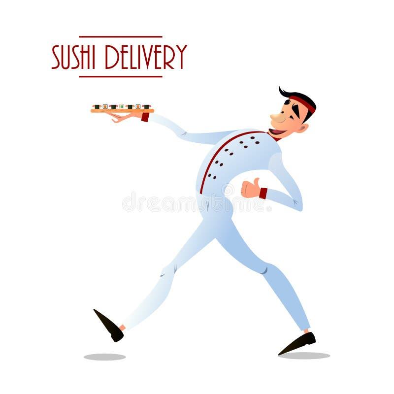 Sushi delivery vector poster. Sushi menu design. vector illustration
