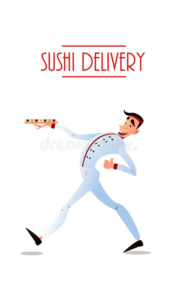 Sushi delivery vector poster. Sushi menu design. Sushi delivery poster. Sushi menu design. Japanese sushi delivers. Bright cheerful character in a flat style royalty free illustration