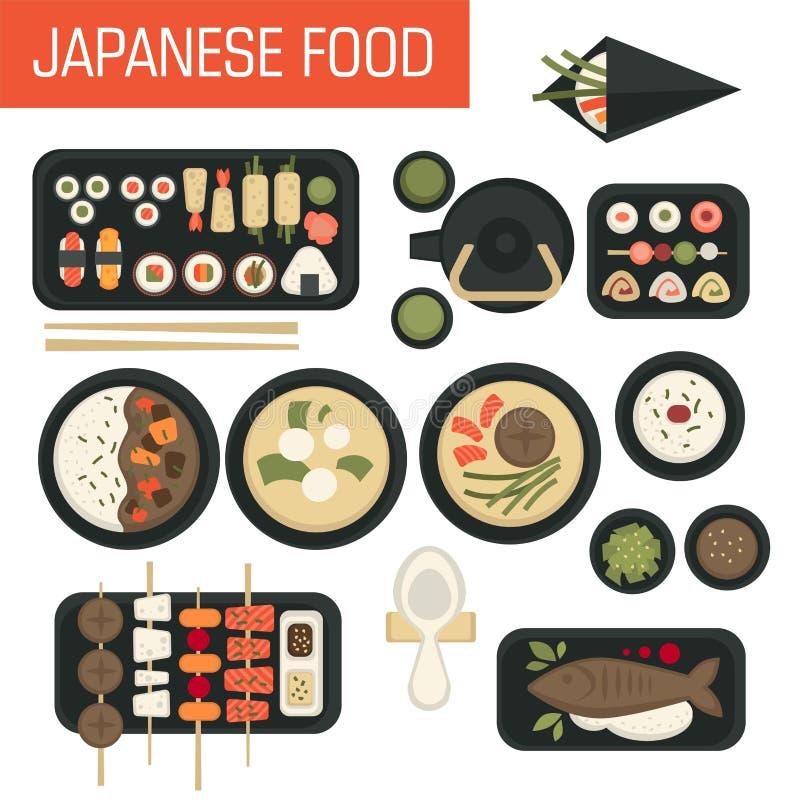 Sushi dell'alimento e pesce e tè verde giapponesi dei frutti di mare illustrazione vettoriale
