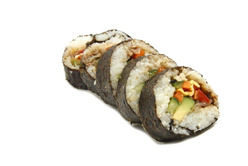 Sushi in der Reihe lizenzfreie stockfotos