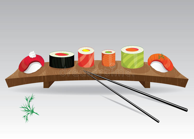 Sushi details of japanese cuisine - ingredients, fish, chopsticks and plate. Vector illustration stock illustration