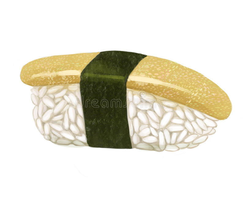 Sushi di kazunoko uovo di pesce dell'aringa con le alghe, l'aumento ed il pesce su un fondo bianco illustrazione di stock