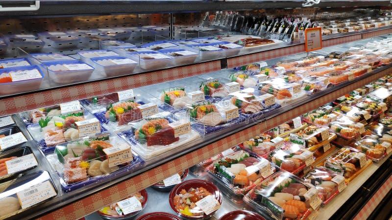 Sushi on display at supermarket in Singapore stock photos