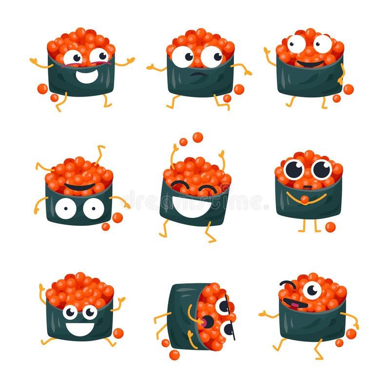 Sushi divertenti con il caviale rosso - vector gli emoticon isolati del fumetto royalty illustrazione gratis