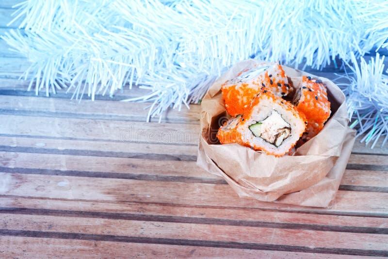 Sushi do Natal fotos de stock royalty free