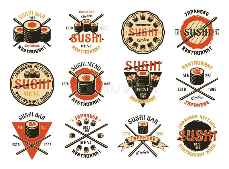 Sushi douze emblèmes colorés de vecteur illustration libre de droits