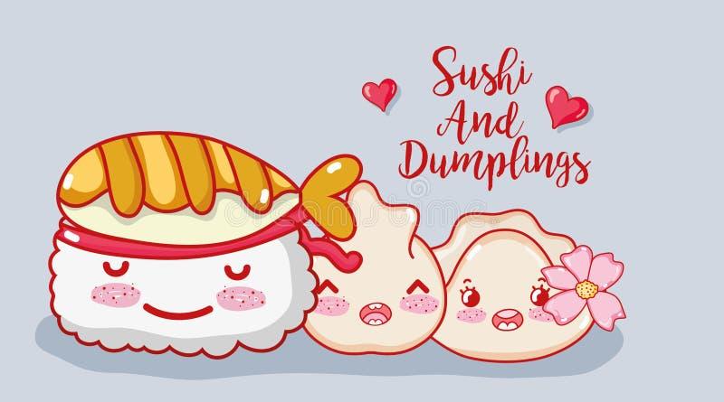 Sushi and dumplings stock illustration