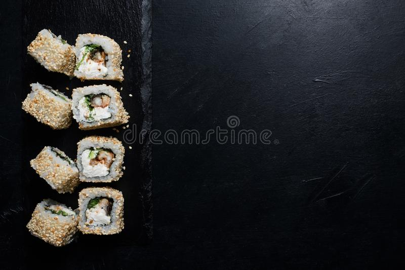 Sushi eel rolls food photography creative stock photos