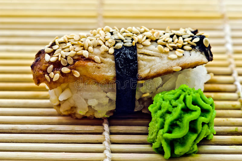 Sushi Eel with Wasabi royalty free stock photo