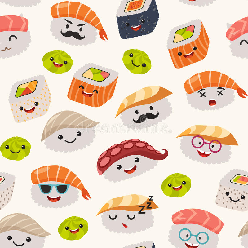 Sushi emoji seamless pattern cartoon style stock vector - Cute asian cartoon wallpaper ...