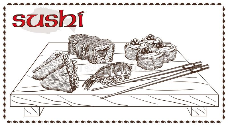 Sushi en broodjes royalty-vrije illustratie