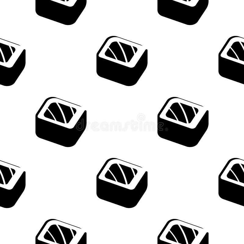 Sushi en broodjes uitstekend naadloos zwart-wit patroon op een verpakkend document, Japanse voedsel vectorillustratie als achterg vector illustratie