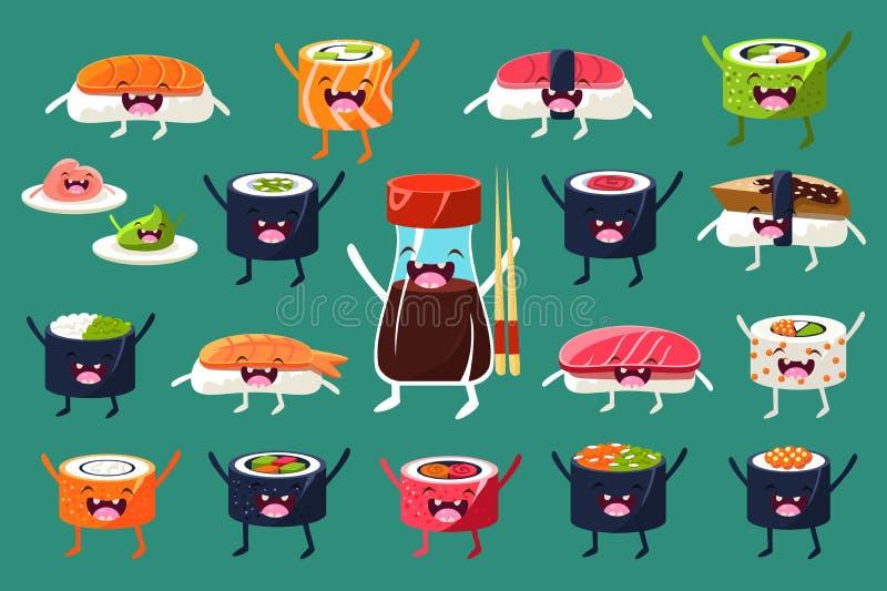 Sushi en broodjeskarakterskasseisteen, Japaneset-voedsel met grappige gezichten vectorillustraties stock illustratie