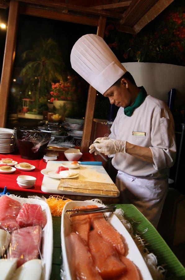 Sushi en la comida fría fotos de archivo