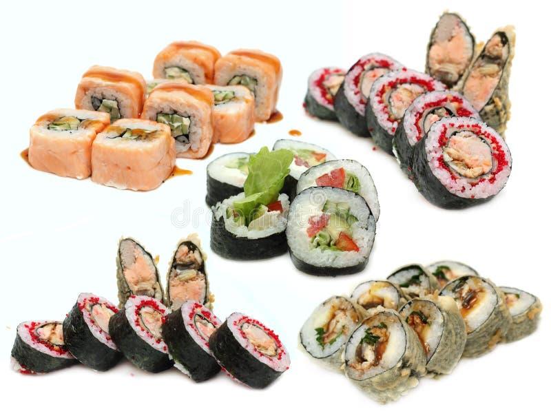 sushi för japansk rulle för kokkonst set royaltyfria foton
