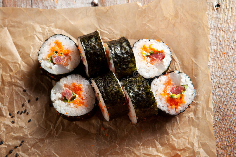 sushi för rullforstudio royaltyfria foton
