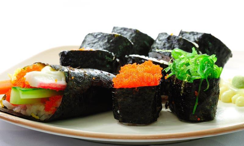 sushi för serie för closeupmat japanska arkivbilder