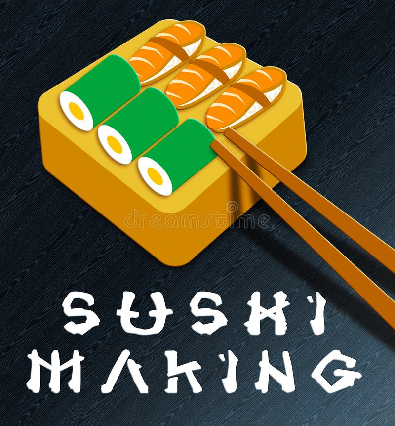 Sushi faisant l'illustration de la cuisine 3d du Japon d'expositions illustration libre de droits